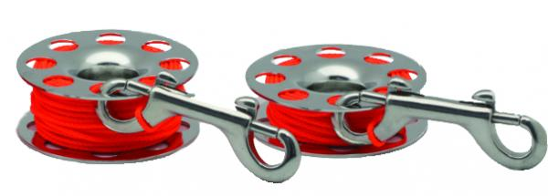 Finger Reel RVS with butterfly hook, available in 4 sizes 9m, 15m, 30m, 45m